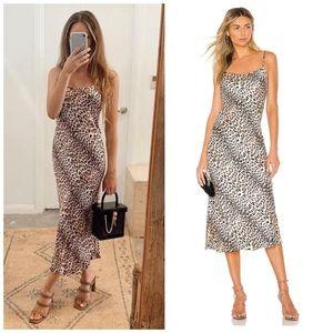 NEW Bec & Bridge Feline Leopard Silk Midi Dress